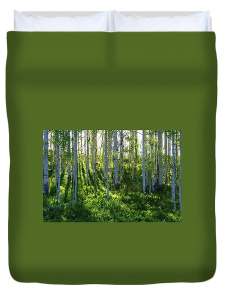 Duvet Cover featuring the photograph Aspen Morning 1 by Marie Leslie