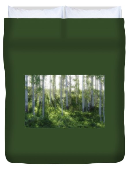 Duvet Cover featuring the photograph Aspen Morning 2 by Marie Leslie