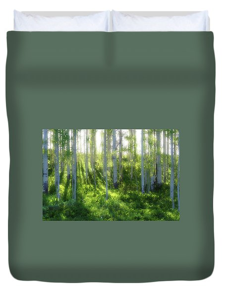 Duvet Cover featuring the photograph Aspen Morning 3 by Marie Leslie
