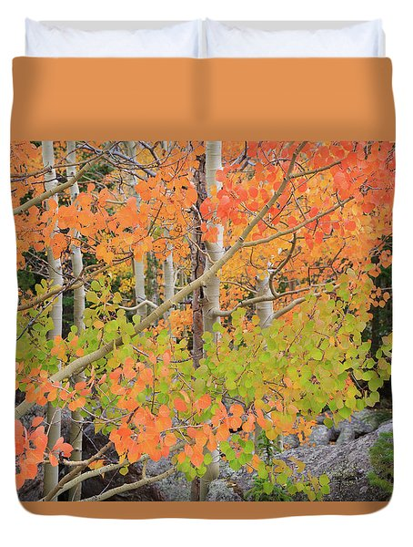 Duvet Cover featuring the photograph Aspen Stoplight by David Chandler
