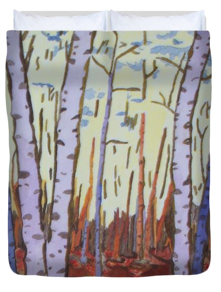 Aspen Trees Duvet Cover by Connie Valasco