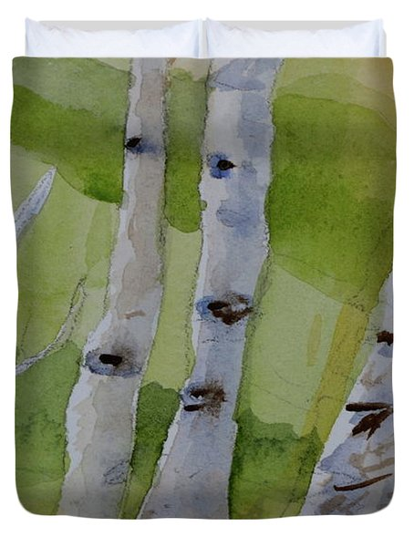Duvet Cover featuring the painting Aspen Trunks by Beverley Harper Tinsley
