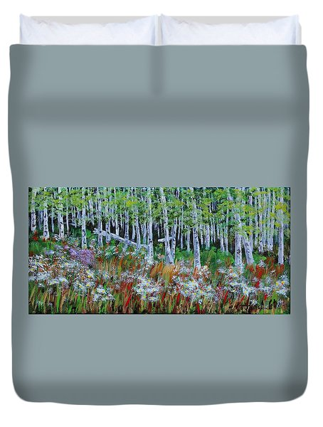 Aspens And Wildflowers Duvet Cover by Mike Caitham