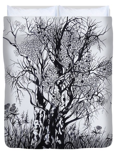 Duvet Cover featuring the drawing Aspens by Anna  Duyunova