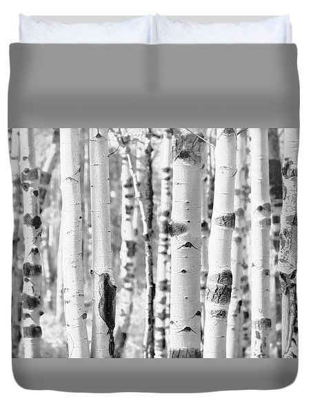 Duvet Cover featuring the photograph Aspens In Black And White  by Saija Lehtonen