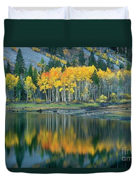 Aspens In Fall Color Along Lundy Lake Eastern Sierras California Duvet Cover