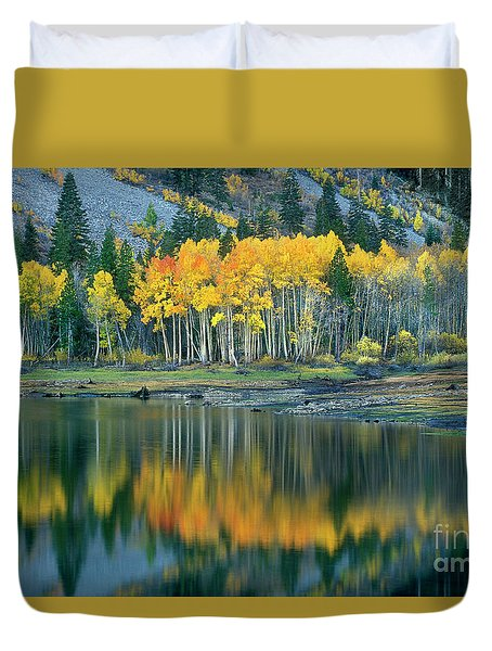 Duvet Cover featuring the photograph Aspens In Fall Color Along Lundy Lake Eastern Sierras California by Dave Welling