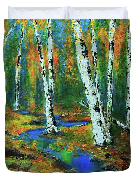 Duvet Cover featuring the painting Aspens by Jeanette French