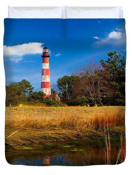 Assateague Lighthouse Reflection Duvet Cover