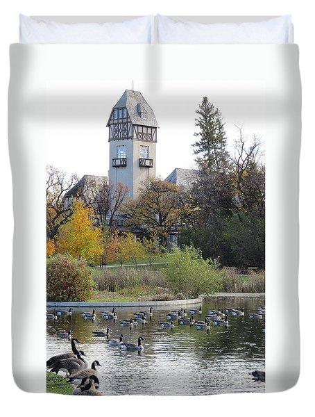 Assiniboine Park Pavilion Duvet Cover by Mary Mikawoz