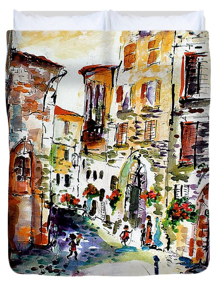 Assisi Italy Old Town Watercolor Duvet Cover