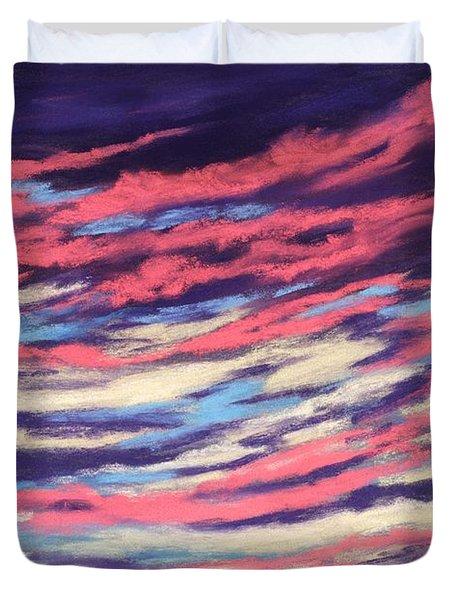 Duvet Cover featuring the painting Associations - Sky And Clouds Collection by Anastasiya Malakhova