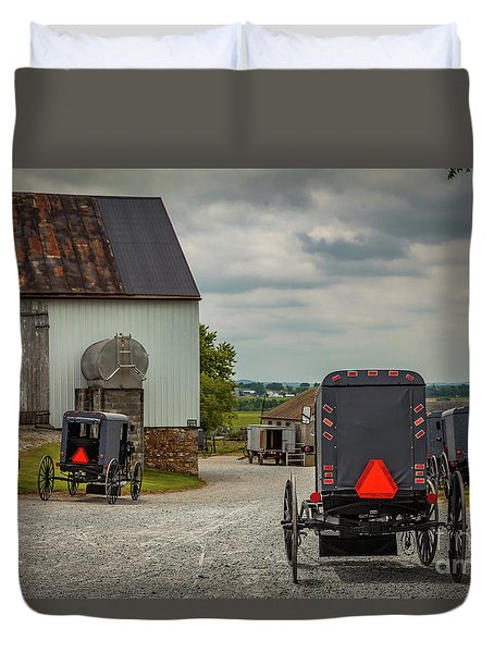 Assorted Amish Buggies At Barn Duvet Cover