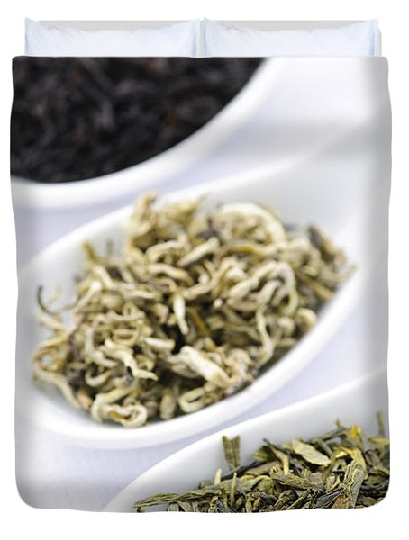 Assortment Of Dry Tea Leaves In Spoons Duvet Cover by Elena Elisseeva