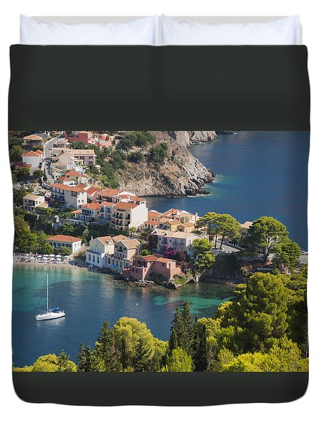 Duvet Cover featuring the photograph Assos In Greece by Rob Hemphill