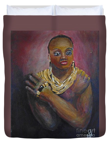 Duvet Cover featuring the painting Assured by Saundra Johnson