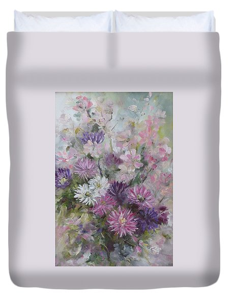 Asters And Stocks Duvet Cover