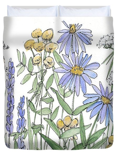 Asters And Wildflowers Duvet Cover