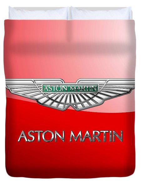 Aston Martin - 3 D Badge On Red Duvet Cover