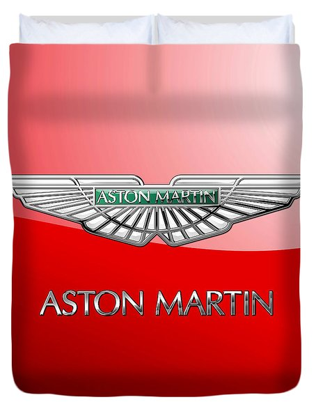 Aston Martin - 3 D Badge On Red Duvet Cover by Serge Averbukh