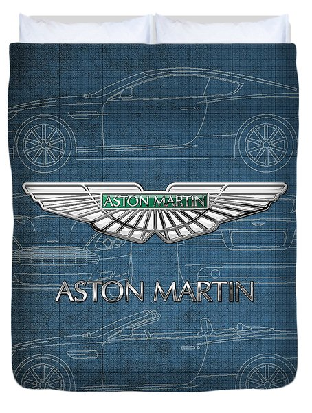 Aston Martin 3 D Badge Over Aston Martin D B 9 Blueprint Duvet Cover by Serge Averbukh
