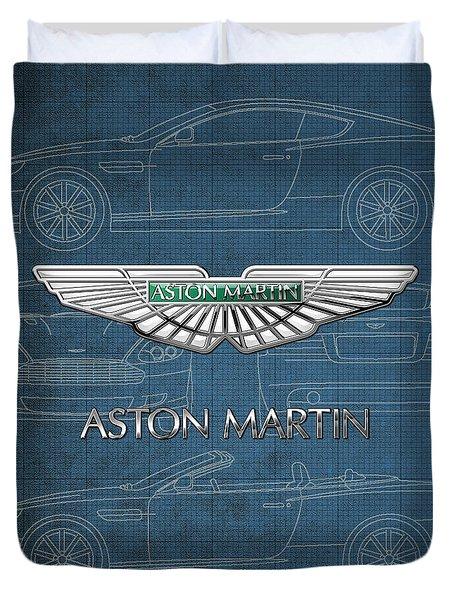 Aston Martin 3 D Badge Over Aston Martin D B 9 Blueprint Duvet Cover