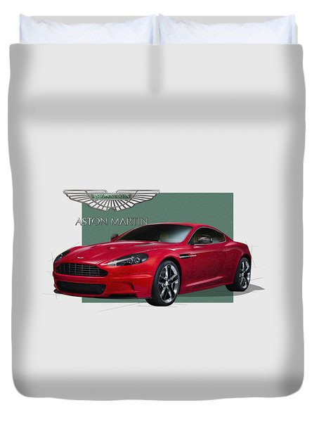 Aston Martin  D B S  V 12  With 3 D Badge  Duvet Cover