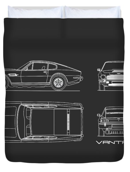 Aston Martin V8 Vantage Blueprint Duvet Cover