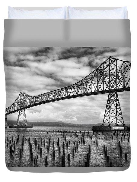 Astoria Bridge In Black And White Duvet Cover