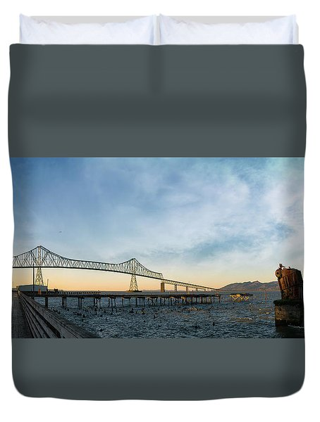 Astoria Megler Bridge By Riverwalk Panorama Duvet Cover
