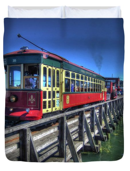 Duvet Cover featuring the photograph Astoria Riverfront Trolley by Thom Zehrfeld