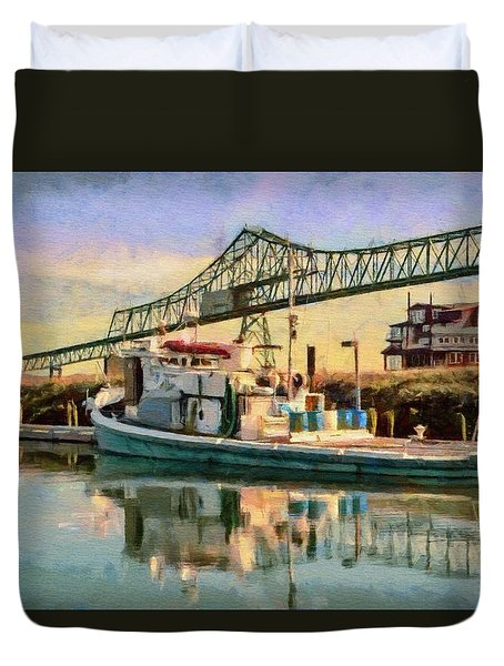 Duvet Cover featuring the painting Astoria Waterfront, Scene 1 by Jeff Kolker