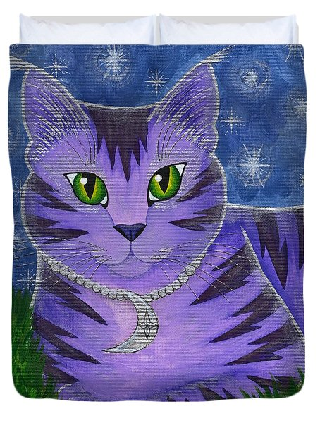 Duvet Cover featuring the painting Astra Celestial Moon Cat by Carrie Hawks