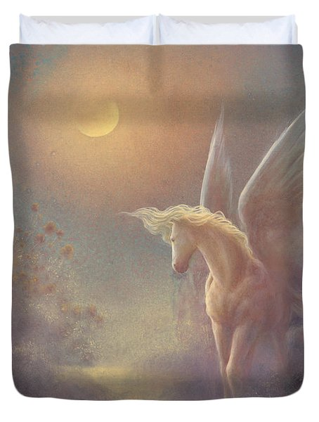 Astral Pegasus Duvet Cover by Jack Shalatain