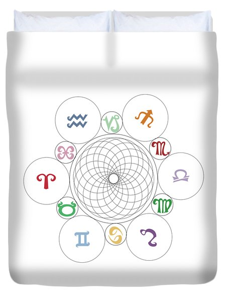 Astrological Sacred Geometry Image Duvet Cover