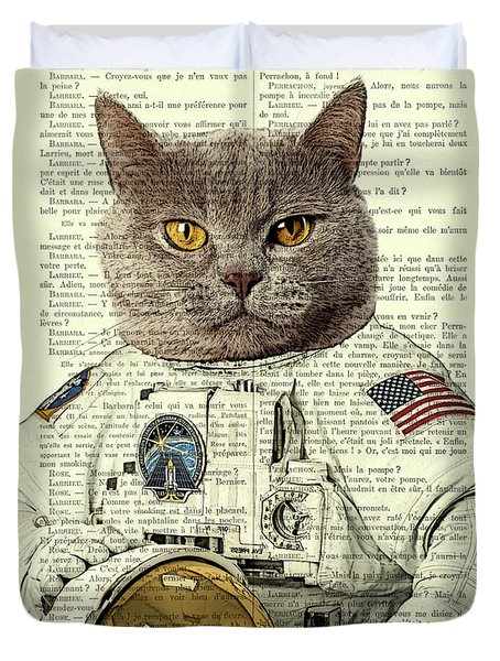 Astronaut Cat Illustration Duvet Cover