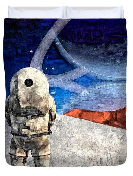 Astronaut On Exosolar Planet Duvet Cover
