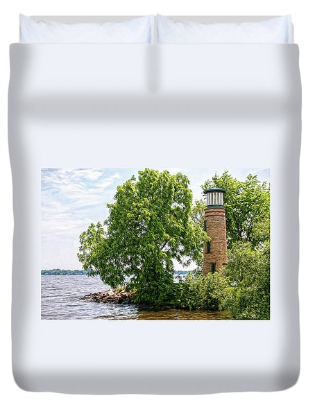 Asylum Point Lighthouse 1 Duvet Cover by Trey Foerster