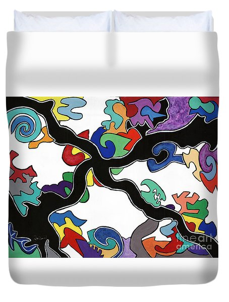 At A Crossroad In Crossville Duvet Cover