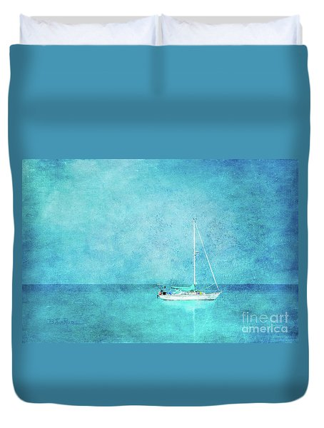 Duvet Cover featuring the mixed media At Anchor by Betty LaRue