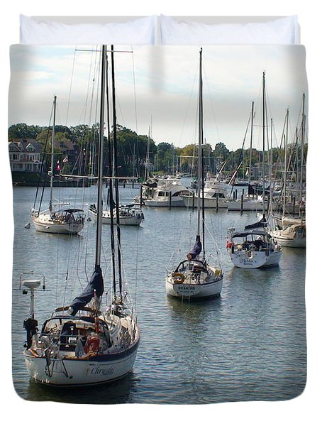 Duvet Cover featuring the photograph At Anchor by Charles Kraus