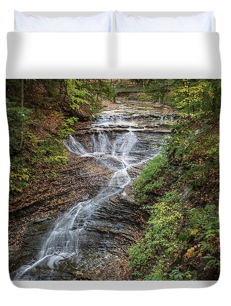 Duvet Cover featuring the photograph At Bridal Veil Falls by Dale Kincaid