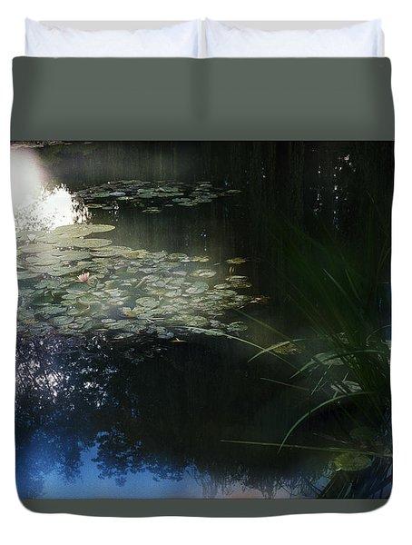 Duvet Cover featuring the photograph At Claude Monet's Water Garden 3 by Dubi Roman