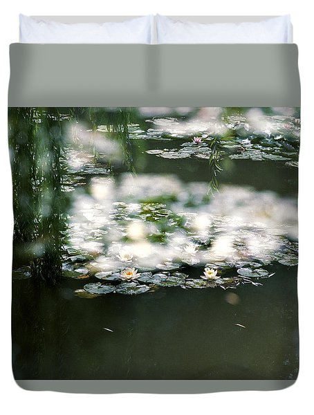 Duvet Cover featuring the photograph At Claude Monet's Water Garden 5 by Dubi Roman