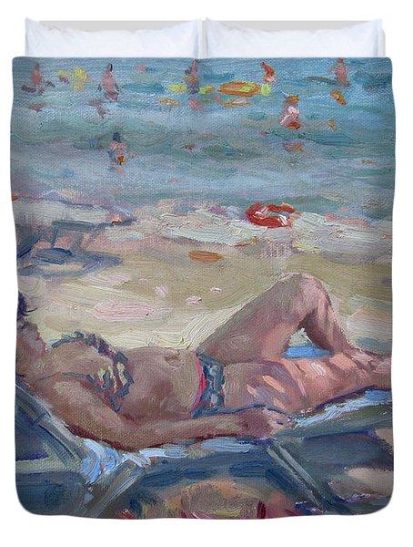 At Dilesi Beach Athens Duvet Cover