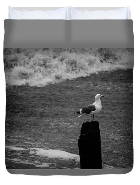 Duvet Cover featuring the photograph At His Post by Lora Lee Chapman