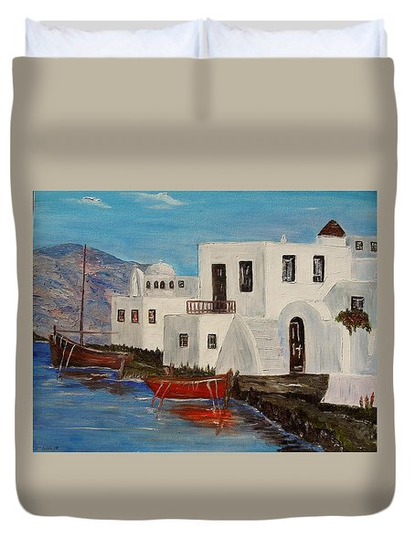 At Home In Greece Duvet Cover