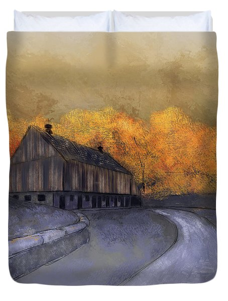 Duvet Cover featuring the digital art At Just Dawn by Lois Bryan