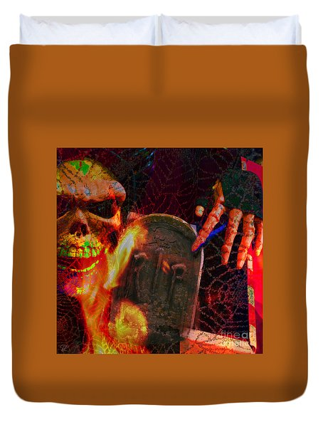 At Night In The Graveyard Duvet Cover