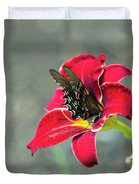 At One With The Orchid 2 Duvet Cover